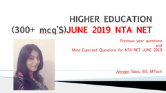 June 2019 Paper 1 Higher Education NTA-NET 300+ Most Expected MCQ's
