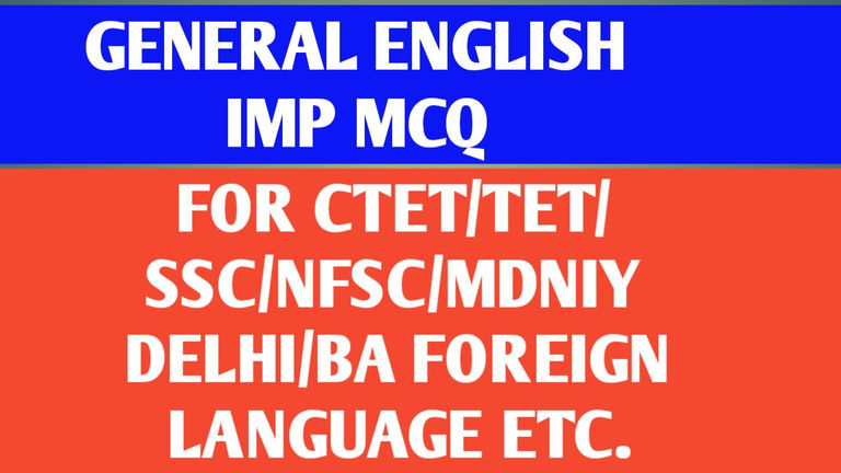 (Hindi) General English Important MCQ for All Competitive Exams: Teacher Eligibility Test (TET)